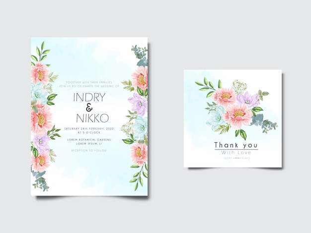 Mooie en romantische bloemenhuwelijksuitnodigingskaart