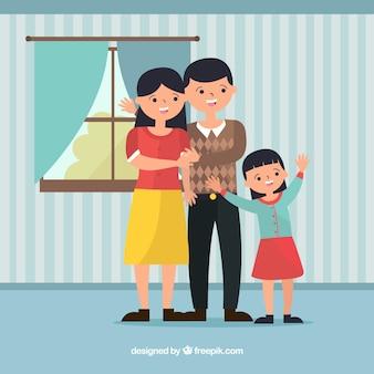Mooie familie thuis met een plat ontwerp