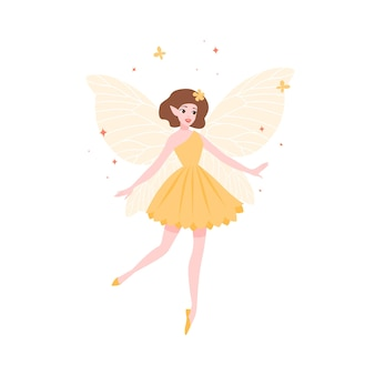 Mooie fee in gele jurk en met vlindervleugels geïsoleerd op een witte achtergrond. folkloristisch mythologisch magisch wezen, legendarisch of sprookjesachtig personage. platte cartoon vectorillustratie.