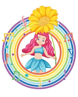 Mooie fee in regenboog rond frame