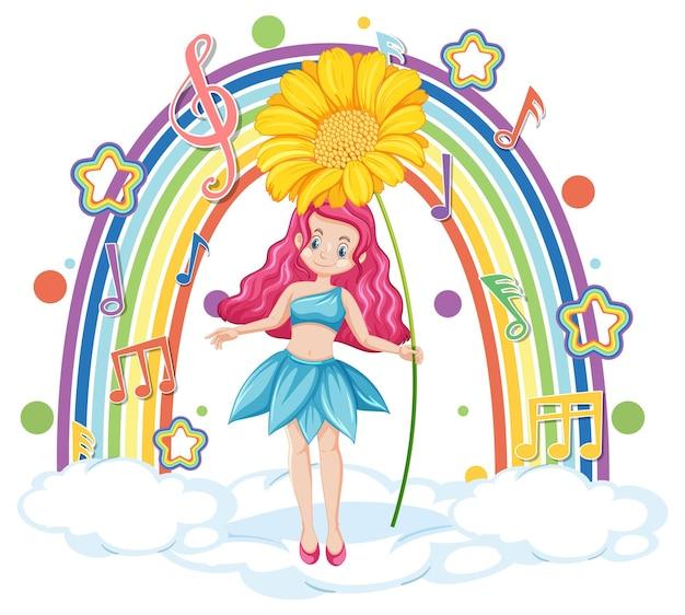 Mooie fee staande op een wolk met regenboog