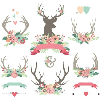 Mooie floral antlers arrangments set