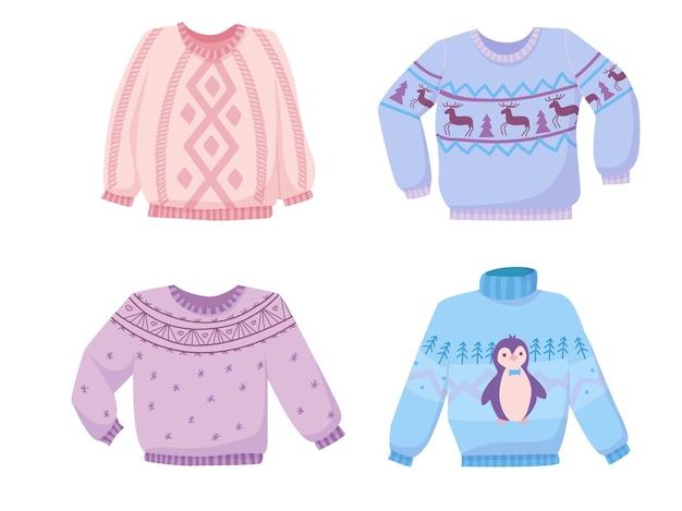 Mooie gebreide truien van natuurlijke wol. gezellige winter in pastelkleuren. warme winterkleding met schattige patronen.