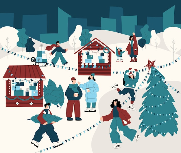 Mooie gedetailleerde kerstmarkt banner met winter- en vakantieactiviteiten