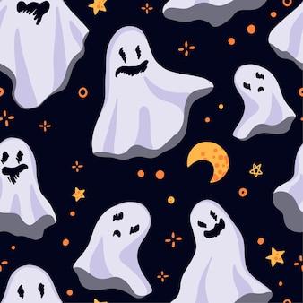Mooie geesten. vector naadloos patroon. gekleurde cartoon sieraad met vliegende geesten. abstract halloween-ontwerp.