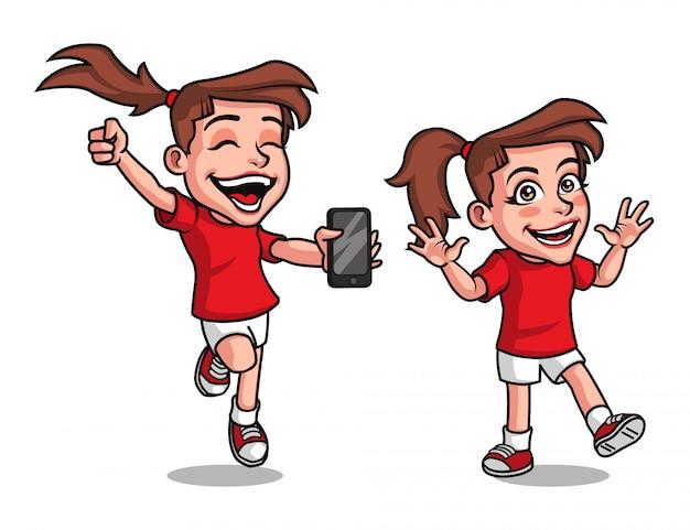 Mooie gelukkig jong meisje cartoon mascotte