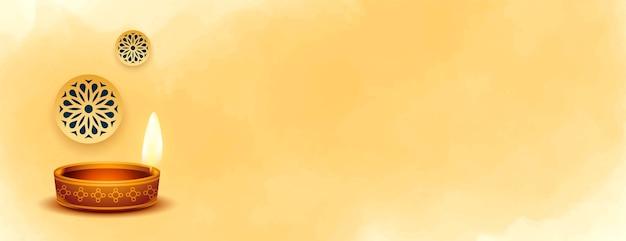 Mooie gelukkige diwali diya banner met tekstruimte