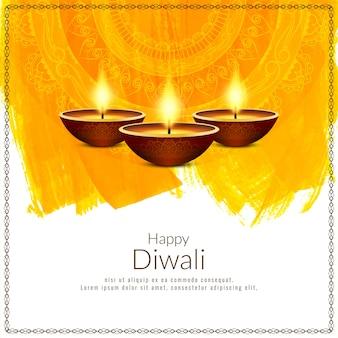 Mooie gelukkige diwali-festival gele achtergrond
