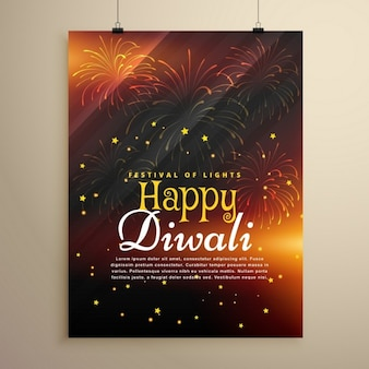 Mooie gelukkige diwali flyer sjabloon met vuurwerk
