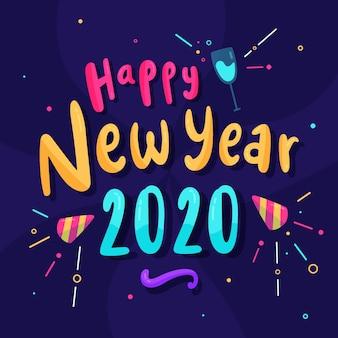 Mooie gelukkige nieuwe jaar 2020-letters