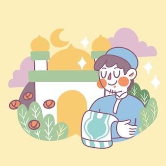 Mooie gelukkige ramadan premium vector doodle illustratie