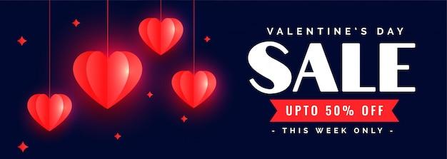 Mooie gelukkige valentijnsdag verkoop banner