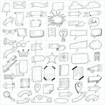 Mooie gelukkige verjaardag hand getrokken doodle set