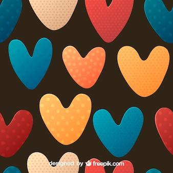 Mooie gestippelde hart naadloze patroon