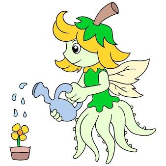 Mooie gevleugelde fee zorgt voor het drenken van zonnebloemen in potten, vectorillustratiekunst. doodle pictogram afbeelding kawaii.