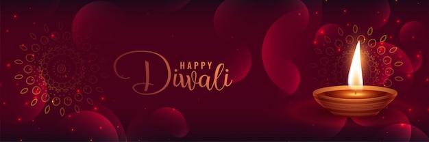Mooie glanzende diwali banner met featival diya