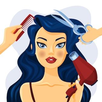 Mooie glimlachende vrouw in kapsalon. handen met schaar, borstel en ventilator die haarstijl maken. illustratie