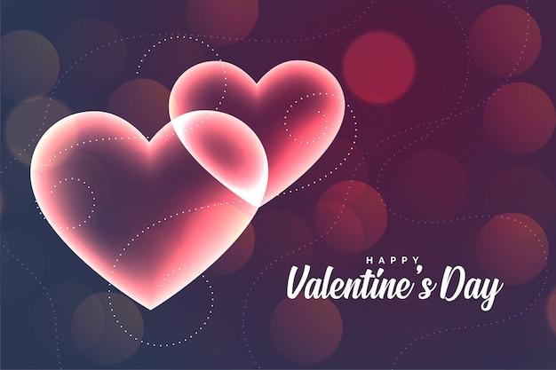 Mooie gloeiende romantische harten valentijnsdag wenskaart
