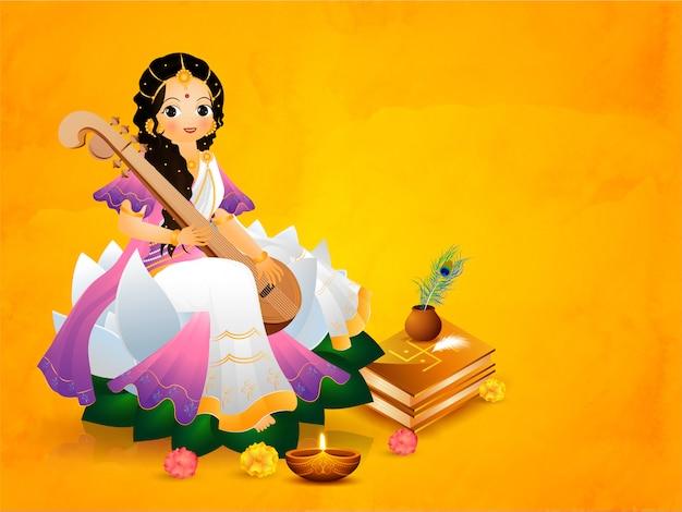 Mooie godin saraswati karakter met festival elementen op