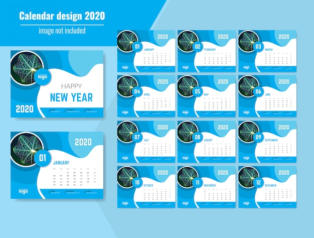 Mooie golvende bureaukalender 2020