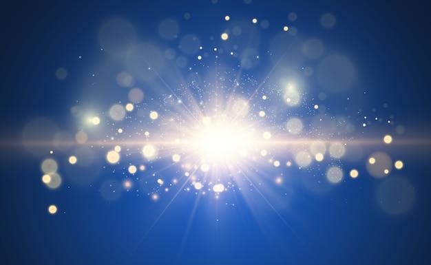 Mooie gouden illustratie van een ster op een doorschijnende achtergrond met goudstof en glitters. een prachtige lichtvoet voor uw ontwerp.