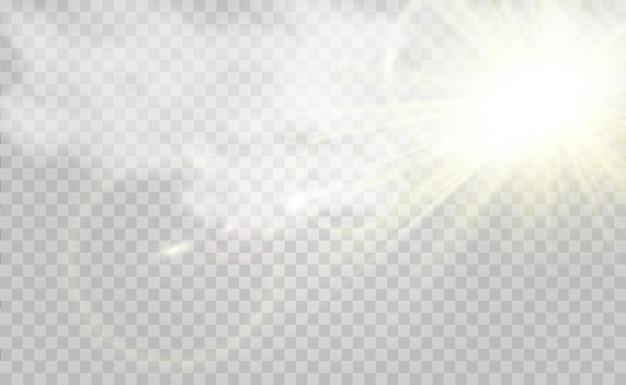 Mooie gouden vectorillustratie van een ster op een doorschijnende achtergrond met goudstof en glitter