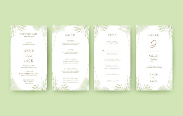 Mooie groene en gouden huwelijksuitnodiging voor mobiel