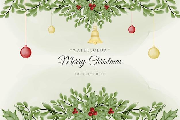 Mooie groene kerstachtergrond met gouden ornamenten