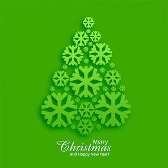 Mooie groetkaart met kerstboom groene achtergrond