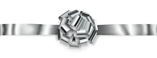 Mooie grote horizontale boog gemaakt van zilver glanzend lint met schaduw op witte achtergrond