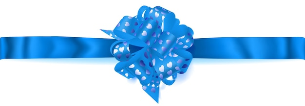 Mooie grote horizontale strik gemaakt van lichtblauw lint met kleine glanzende hartjes met schaduw op witte achtergrond