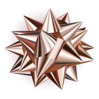 Mooie grote strik gemaakt van glanzend lint in bronskleur met schaduw