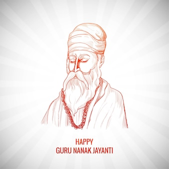 Mooie guru nanak jayanti festival kaart achtergrond