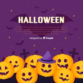Mooie halloween-achtergrond met vlak ontwerp