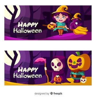 Mooie halloween-banners met vlak ontwerp