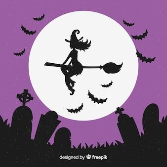Mooie halloween-heksenachtergrond
