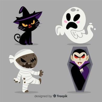 Mooie halloween-karaktercollectie met vlak ontwerp