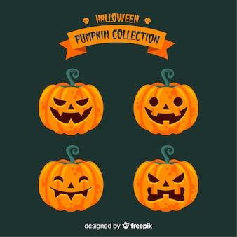Mooie halloween-pompoeninzameling met vlak ontwerp