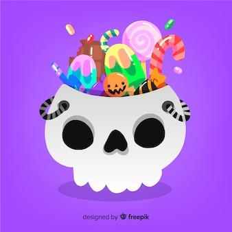 Mooie halloween snoepzak met plat ontwerp