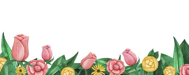 Mooie hand getekend aquarel tuin bloemen