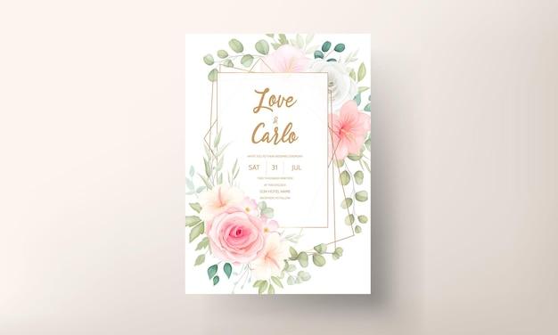 Mooie hand getekend bloemen bruiloft uitnodiging kaartsjabloon