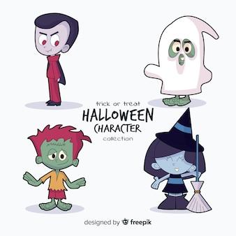 Mooie hand getekend halloween karakter collectie