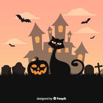Mooie hand getekend halloween kat