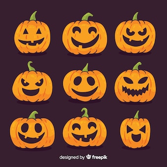 Mooie hand getekend halloween pompoen collectie