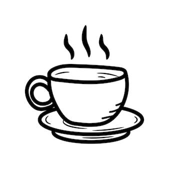 Mooie hand getekende mode kopje koffie pictogram hand getrokken zwarte schets