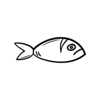 Mooie hand getekende mode vis pictogram hand getrokken zwarte schets