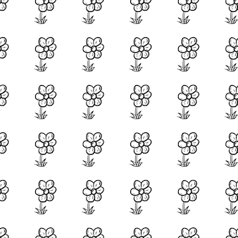 Mooie hand getekende naadloze patroon mode bloem icoon. hand getekende zwarte schets. teken / symbool / doodle. geïsoleerd op een witte achtergrond. plat ontwerp. vector illustratie.