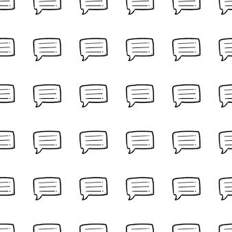 Mooie hand getekende naadloze patroon mode chat cloud icoon. hand getekende zwarte schets. teken / symbool / doodle. geïsoleerd op een witte achtergrond. plat ontwerp. vector illustratie.