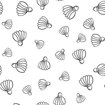 Mooie hand getekende naadloze patroon mode shuttle icoon. hand getekende zwarte schets. teken / symbool / doodle. geïsoleerd op een witte achtergrond. plat ontwerp. vector illustratie.