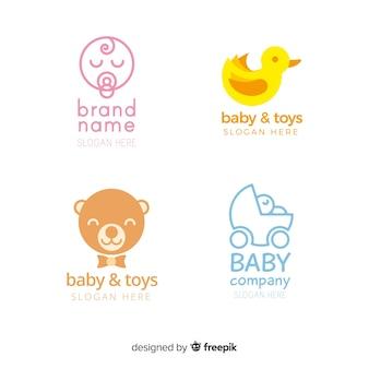 Mooie hand getrokken baby logo-collectie